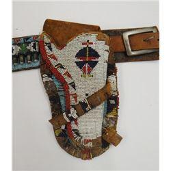 Wild West Show beaded holster and beaded .35 cal. cartridge/money belt, ca 1890-1910, rare piece