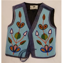 Nez Perce beaded vest panels on new cloth,