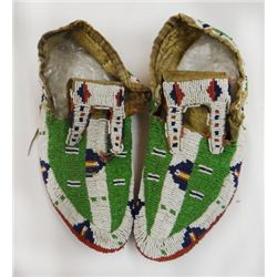 Sioux full beaded ceremonial moccasins, ca. 1880's, excellent condition
