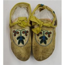 """Sioux beaded moccasins, 8"""", ca. 1900, excellent condition"""