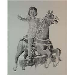 "Greytak, Don original pencil drawing, Girl on the Merry-Go-Round, 13"" h x 10"" w, framed"