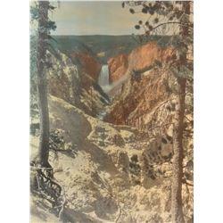 "Yellowstone Falls photo by Roahen, 20"" x 15"", framed"