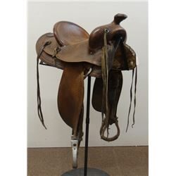 """Pat Connolly, Billings, MT saddle, 13"""", basket stamped, single rigged"""