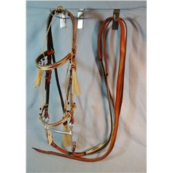 Hitched horsehair bridle by Lenny Spurlock, Deer Lodge, MT, braided reins, appears to be made in 199