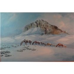 """Cuts the Rope, Clarence, (1935-2000) oil on canvas,  Horses-Winter Grazing, 1979, 24"""" h x 36"""" w, sig"""