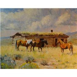 "Kennington, A. R., The Old Log Cabin, oil on board, 16"" x 20"", est. $800-1000"