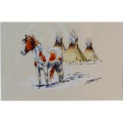 "Milligan, Larry, watercolor, 4"" x 6"", est. $250-400"