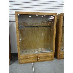 """Oak veneered gun cabinet, 10 gun, 60"""" h x 46"""" w, 16"""" deep"""