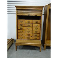 "Oak card file cabinet, 58"" h x 34"" w, 19"" deep, w/tambor"