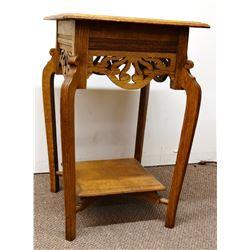 """Fancy oak parlor table, 18"""" x 18"""""""