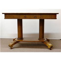 """Fancy oak library table, twin pedestals, appliques on feet, 26"""" x 42"""", nice"""