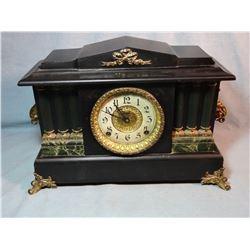 Ingraham black, mantle clock, 6 column, brass trimmed