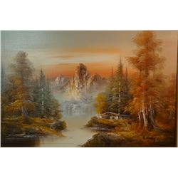 "Henry, W. oil on canvas, Mountain Cabin landscape, 24"" h x 35"" w, framed"