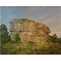 "Haughey, Bruce oil on canvas, Pompeys Pillar, 21"" h x 28"", framed"
