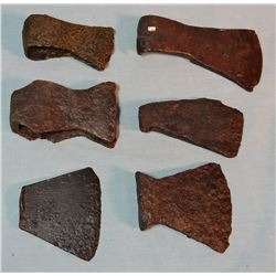 6 Middle Missouri River Village trade axes, lacquered