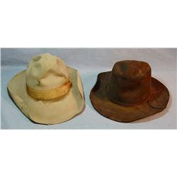 John B. Stetson cowboy hat (Lariat Clothiers, Rapid City, SD) and brown felt hat, no  mark