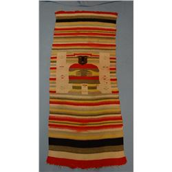 """2 SW Indian weavings/rugs, 25"""" x 58"""", 18"""" x 37"""", small holes and mendings"""
