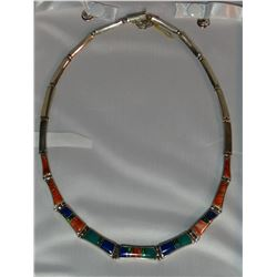 """Zuni coral and turquoise on sterling silver necklace, 15"""" total length, leather case"""