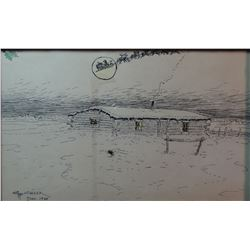 """Cheek, C. R. pen & ink 1988 Christmas greeting, 6 1/2"""" x 10"""", framed, small water stain"""