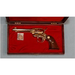 Colt Single Action Frontier Scout, .22 LR, Pony Express Centennial model, wood grips, gold plated