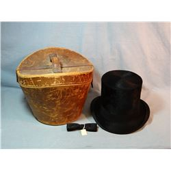 Vintage Maurice Rothchild beaver top hat, w/ original leather hat box, excellent condition