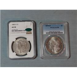 2 Morgans dollars, 1879 O, PCGS AU 58 and 1880-O, AU 58