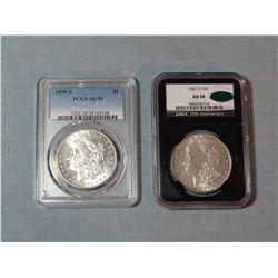 2 Morgan dollars, 1887-O, NGC AU 58 and 1890-S PCGS AU 58