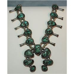 Turquoise squash blossom, sterling silver, signed Bene