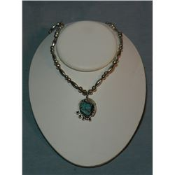 Turquoise and sterling ladies necklace, leaf trim