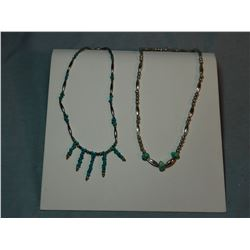 2 Turquoise and sterling ladies necklaces