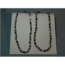 Russian glass indian trade beads, 2 strands, blue and red