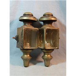 Set of 2 matching carriage lanterns, beveled glass, all intact