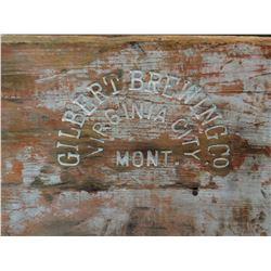 Wooden beer bottle box, marked Gilbert Brewery, Virginia City, Mont. Rare