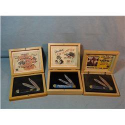 3 Dale Earnhardt Comm. folding knives, wood cases