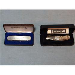 2 Browning pocket knives, one w/antler handle