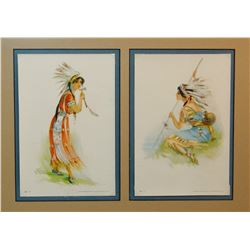 "2 Jesse Perlue Barrick framed litho, Indian Maidens, ca 1908, 8 1/2"" x 5 1/2"""
