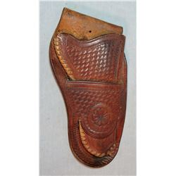 Vintage holster, basket stamped/laced edging, early 1900's