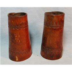 2 pair Cowboy wrist cuffs, flower stamped and border tooled