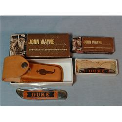 2 Case knives, John Wayne Comm., hunter folding and 2 blade muskrat, 2 blade, both NIB