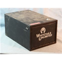 """Whitetail Unlimited hand gun safe, 6 1/2"""" h x 8 1/2"""" w and 13"""" long, metal, key lock"""