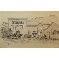 Brown, Art original pen and ink, Virginia City Stage and Brewery
