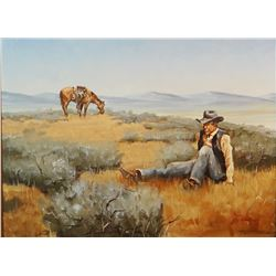 Haynes, Ron original oil painting, 12  x 16 , Bucked Off
