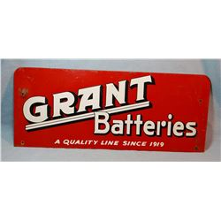 "Grant battery porcelain sign, 9"" X 22"""