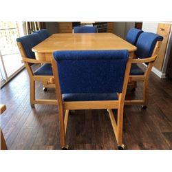 Custom-built oak dining table w/6 chairs