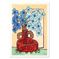 """Avi Ben-Simhon, """"Blue Flowers"""" Limited Edition Serigraph, Numbered and Hand Signed with Certificate"""