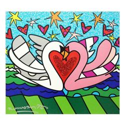 """Romero Britto """"Soul Mate"""" Hand Signed Limited Edition Giclee on Canvas; Authenticated"""