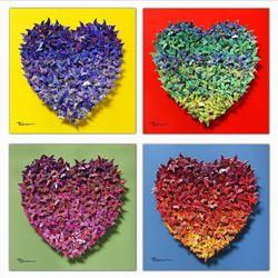 "Patricia Govezensky- Original 3D Metal Art on Wood (Set of 4) ""Hearts"""