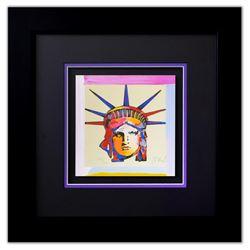 """Peter Max- Original Lithograph """"Liberty Head X (Mini)"""""""