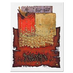 """Moshe Castel, """"Shofar above Lion's Gate"""" Limited Edition Gold Embossed Serigraph with Letter of Auth"""
