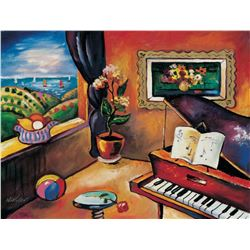 "Oleg Nikulov- Original Giclee on Canvas ""Piano with Countryside View"""